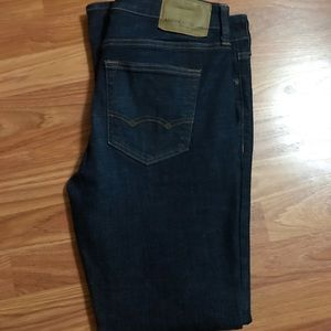 AE dark rinse skinny jeans.
